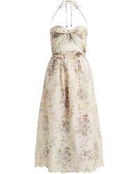 Zimmermann - Iris Picnic Floral Print Linen Dress - Lyst