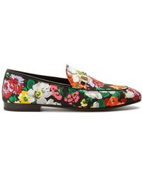 Gucci - Jordaan Floral-print Satin Loafers - Lyst