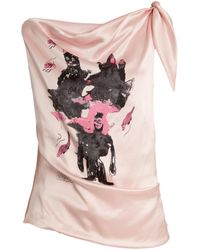 Claire Barrow | Mouse Monkey-print Silk-satin Top | Lyst
