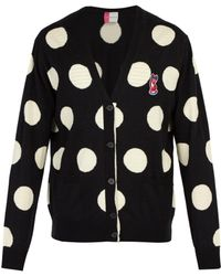 Maison Kitsuné - Acide Fox Appliqué Polka Dot Wool Cardigan - Lyst