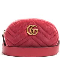032cf0770b6c Gucci Gg Marmont Quilted Velvet Belt Bag In Pink Lyst