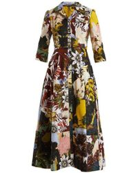 Erdem - Kasia Patchwork Floral-print Cotton Shirtdress - Lyst