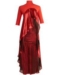 Paula Knorr - Drape Jersey And Silk-blend Lamé Dress - Lyst