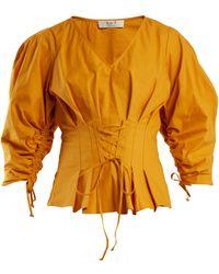 Sea | Windbreaker Corset-waist Cotton-blend Top | Lyst