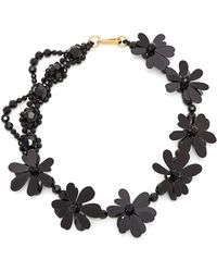 Simone Rocha Crystal Bead And Floral Necklace - Black