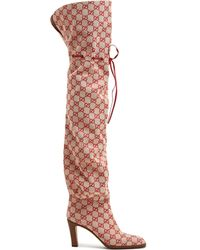 Gucci - Gg Canvas Over The Knee Boots - Lyst