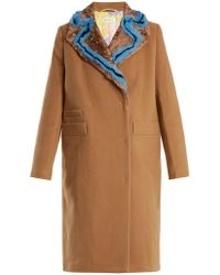 Saks Potts - Double-breasted Fur-trimmed Wool Coat - Lyst