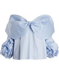 Johanna Ortiz   Caravan Off-the-shoulder Bow-detail Cotton Top   Lyst