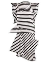 Junya Watanabe - Striped Asymmetric Cotton-jersey Dress - Lyst