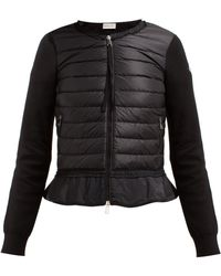 Moncler - Quilted Panel Zip Through Cotton Cardigan - Lyst