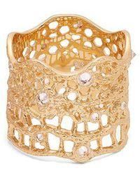 Aurelie Bidermann - Diamond, Aquamarine & Yellow-gold Ring - Lyst
