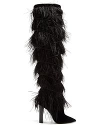 Saint Laurent - Yeti Feather Embellished Over The Knee Boots - Lyst