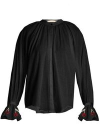 Bliss and Mischief - Cherry-embroidered Cotton-voile Shirt - Lyst