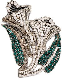 Rochas - Crystal Embellished Lily Brooch - Lyst
