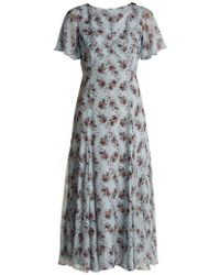 Erdem - Kathryn Keiko Diamond-print Silk Dress - Lyst