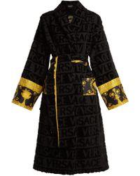 Versace - Logo Jacquard Baroque Print Cotton Bathrobe - Lyst