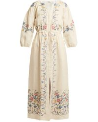 Vilshenko | Maggie Floral-embroidered Linen Dress | Lyst