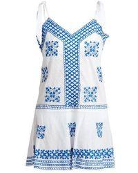 Juliet Dunn - Shoulder-tie Embroidered Cotton-voile Kaftan - Lyst