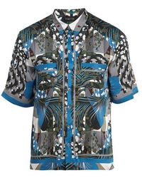 Meng - - Haut de pyjama en soie à imprimé graphique - Lyst