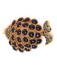 Oscar de la Renta - Stone-embellished Fish Brooch - Lyst