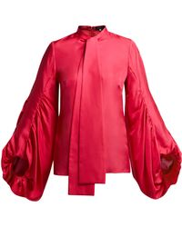 Andrew Gn - Gathered Balloon Sleeve Silk Blouse - Lyst