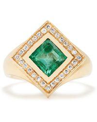 Jade Jagger - Diamond, Emerald & Yellow-gold Kite Ring - Lyst