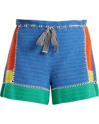 Diane von Furstenberg - Paperbag Waist Crochet Knit Shorts - Lyst