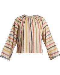 Ace & Jig - Farrah Gathered-neck Striped Cotton Blouse - Lyst