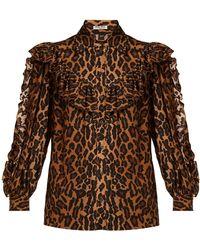 Miu Miu - Leopard-printed Silk Shirt - Lyst
