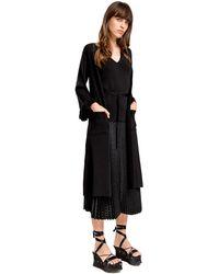 Leon Max - Fully Fashioned Knit Ruffled Long Cardigan - Lyst