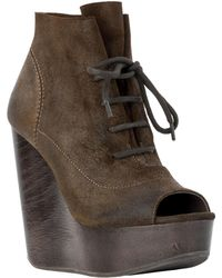 Leon Max - Farah : Waxed Suede Wedge Booties - Lyst