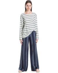 Leon Max - Striped Frayed-hem Wide-leg Trousers - Lyst