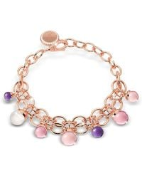 Rebecca - Hollywood Stone Rose Gold Over Bronze Chains Bracelet W/hidrothermal Stones - Lyst