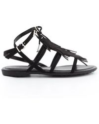Tod's - Black Leather Sandals - Lyst