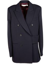 Victoria Beckham Blue Wool Coat