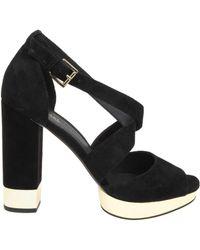 42a21091f136 Lyst - MICHAEL Michael Kors Python Effect Kitten Heel Sandals in Natural