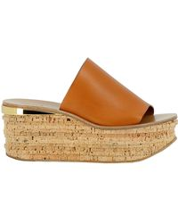Chloé - Brown Leather Wedges - Lyst