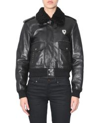 5cb5791f02 Saint Laurent Leather Suit Jacket Decorated With Rivets in Black - Lyst