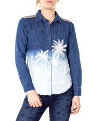31fee4218b2bd4 Ganni Ayame Embroidered Lace Shirt in Blue - Lyst