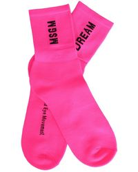 MSGM - Fuchsia Polyamide Socks - Lyst