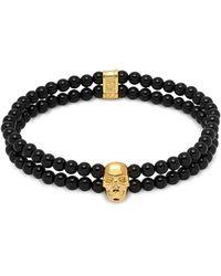 Northskull - Double Row Beaded Bracelet With Skull Charmin Black Onyx & Gold - Lyst