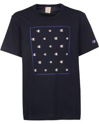 5a6872cd Champion Repeat Logo T-shirt in Blue for Men - Lyst