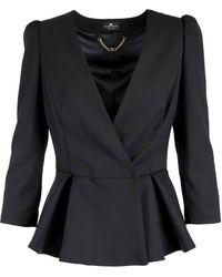 Elisabetta Franchi - Black Polyester Blazer - Lyst