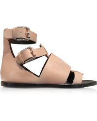 Balmain Pink Leather Sandals