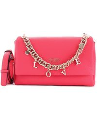 Guess - Fuchsia Faux Leather Shoulder Bag - Lyst