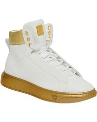 MCM - Men's High Top Leather Trainers With Visetos Trim - Lyst
