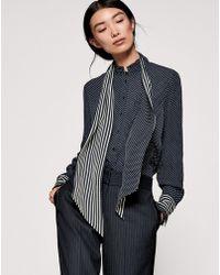 ME+EM - Spot And Stripe Skinny Silk Scarf - Lyst