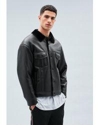 Mennace - Black Faux Leather Faux Fur Lined Western Jacket - Lyst