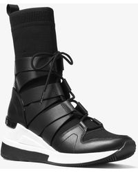 Michael Kors - Beckett Stretch-knit And Leather High-top Trainer - Lyst