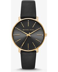 Michael Kors - Pyper Gold-tone And Leather Watch - Lyst